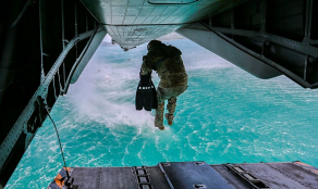 Special Forces Soldier Performs a Rescue Training Mission