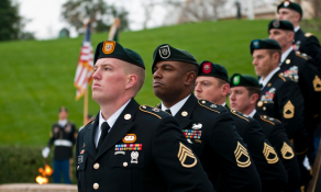Special Forces Green Beret Soldiers from each of the Army's seven Special Forces Groups stand silent watch during the wreath-laying ceremony.