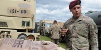 Soldier eating MRE